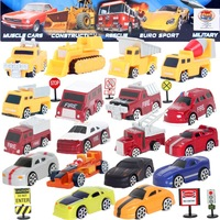 Hot sale 18Pcslot multicolor plastic mini model car truck fire car educational toys free Traffic signs children's Christmas gift