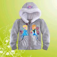 Retail 2014 New Fashion Frozen Anna Elsa Girls Coat Gray Long Sleeve Children Outwear Luxury Hoodie casual wear Autumn Winter