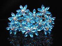 10pcs  NEW Frozen Snowflake Hair Jewelry Blue Crystal Rhinestone Wedding Prom Hair Pins