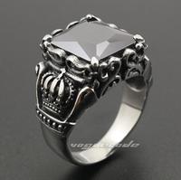 Black zircon crow heart crown male steel ring