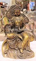 "16"" Chinese Bronze Shakyamuni Sakyamuni Buddha Kwan-yin Guanyin Vase Seat Statue"