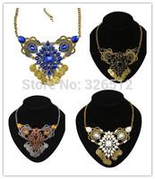 1pc European Bohemian vintage gold silver tone flower drop black crystal Coin pendant statement bib colar Necklace women jewelry