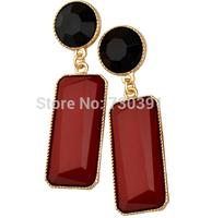 Free shippingNew Arrival Charm Lady's Geometry Pierced Drop Red Resin  Earrings
