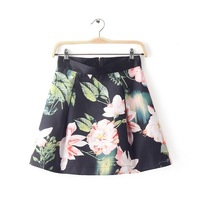 2014 New Autumn Women Elegance Lotus Prints Above Knee Girls Short Pleated Skirts With Zipper 6003326804