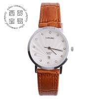Free shipping fashion watch brand genuine leather for women calendar diamond quartz watch LB8858a03