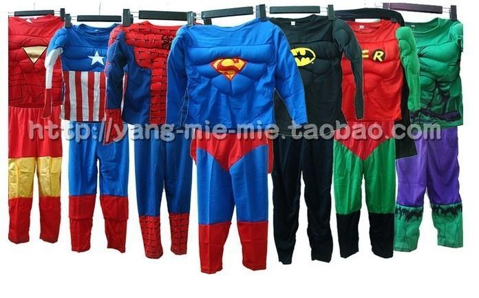 full body suits Batman Spiderman Captain America Superman Iron Man hulk Muscle cosplay costume for children kids super hero(China (Mainland))
