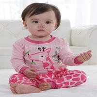 2014 New Fashion Giraffe Pijama Kids Baby Cartoon Animal pajamas Girls Pajamas Autumn Kids Clothes pink