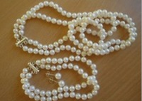 DOUBLE STRANDS7-8mm SOUTH SEA WHITE PEARL NECKLACE BRACELET EARRING