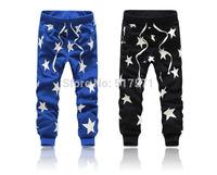 Men/women Star Hip Hop Sweat Pants Harem Dance Jogger Baggy Trousers Slacks Jogging Sport Pants black/blue