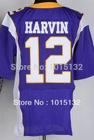Cheap Free Shipping American Minnesota Football #12 Percy Harvin Jersey White, Purple Stitched Logo Elite