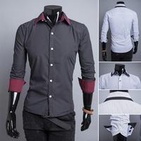 High quality! Free Shipping 2014 New Autumn/Winter Men Casual Slim Shirts Long-sleeve turn-down collar Polka Dot Shirt Men