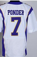 Cheap Free Shipping American Minnesota Football #7 Christian Ponder Jersey White, Purple Stitched Logo Elite
