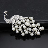 free shipping 2 piece Newest Charming Crystal rhinestone Peacock Pearl Brooch Jewelry Gifts Decorations Pin Brooch
