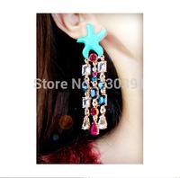 Free shippingNew Arrival Fashion Starfish Enamel Colours Crystal Dangle Stud Cute Earrings