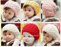 2014Kids Girls Baby Handmade Hat Crochet Knitting Beret Hats Caps Cute Winter Beanie Free&Drop Shipping