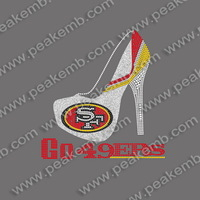 Go 49ers Hotfix Rhinestone SF Glitter Heat Transfers Wholesale Free Shipping 30Pcs/Lot Free Custom Design