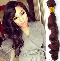 Indian virgin remy loose wave hair 3 bundles color 99J Indian loose body wave hair burg deep wave curly hair weave free shipping