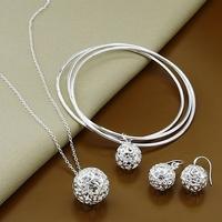 925 silver set-T126-2014 New,Xmas jewelry,Fashion Bangle Necklace Jewelry Set,925 Sterling Silver jewelry set,Free Shipping