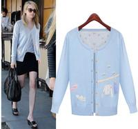 2014 autumn new women's long sleeve bow embroidery beaded cardigan sweater jacket