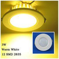 Free Shipping 3W Warm White 12 LED 2835 SMD Panel Light Down Light AC220-240V 210LM LED Ceiling Light Spot Light LEDTD002