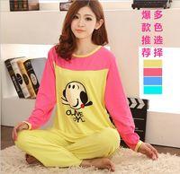 spring autumn homewear sets cartoon  pajamas women girl long sleeve cotton sleepwear nightgown