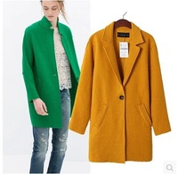 2014 Autumn Winter Womens Fashion Wool Blends Elegant Candy color Medium-long design Blazer Coat Jackets