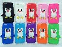 Factory Wholesale  1000pcs/lot 3D Cartoon Penguin silicone case for iphone 6 6G,new arrival