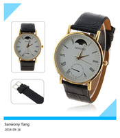 New Resuli 2014 arrivel Fashion Large Dial Gentle Men Man Leather Band Watch Quartz Wrist Watches Free shipping&Wholesale