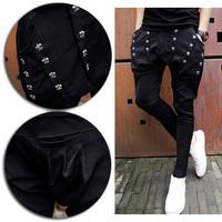 Gothic Men's Multi Button Draped Awesome Punk Unique Casual Harem Pants Trousers