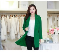 2014 Autumn Winter Woolen Coat Womens Overcoat Temperament Slim Trench Desigual femininos Wool & Blends Free Shipping Green S-XL