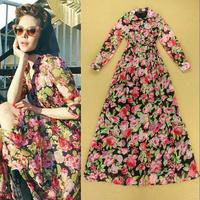 Sweet temperament elegant ladies dress elegant rose print dress autumn