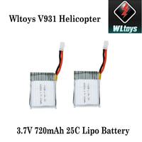 2Pcs High Quality Wltoys Mini RC LiPo Battery 3.7V 720mAh 25C for Wltoys V931 RC Helicopter