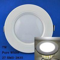 Free Shipping 27 LED 2835 SMD Panel lights 7W Pure White AC220-240V 567LM LED Ceiling Light Spot Light LEDTD005