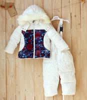 Russia Hot 2014 Children's Winter Clothing Set Girl baby Ski Suit Windproof Flower Warm Coats Fur Jackets+Bib Pants