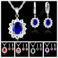 Hot Sale Princess Kate Willian Wedding Jewelry Sets Genuine 925 Sterling Silver Austrian Crystal Necklace Earrings Gift 5 Colors