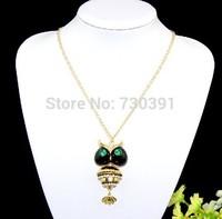 Free shippingNew Arrival Fashion Korea Style Lovely Rhinestone Enamel Owl Pendant Necklace