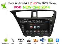 2014 New Dual Core Contex A9 1.6 GHz Android 4.2.2 PC Car DVD GPS For HONDA New Civic 2014 With WiFi 3G DVR  + Free Map