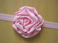 Rolled Satin Cupcake Rose Baby Headband, Newborn Girl Photography Prop