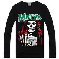 4M303 3d misfits skull grasp newspaper GentleMen Slim Fit Long Sleeve Bottoming Cotton Casual T-Shirt T Shirt