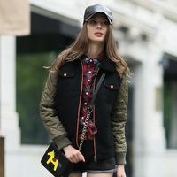 2014 Autumn Winter New Women   European Style  Street Fashion Woolen Warm Color Block   Baseball Uniform Jacket Coat For Woman