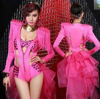 Womens Costume Deep V Shrug Rivet Shoulder Tuxedo Bodysuit+Bra Dance Wear  Gauze Skirt Cos Cosplay Jazz XS M L Free Shipping