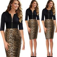 New Arrival Autumn Women Office Dress Sheath Knee-Length V-Neck Leopard Zipper Dresses KB177