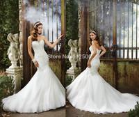 Modest White Mermaid Wedding Dresses 2014 Sweetheart Applqiue Beading Pleats Court Train Bridal Gowns