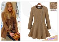 HOT Free Shipping 2014 winter woolen overcoat women fashion trench woolen coat Knitted wool dress 8353#