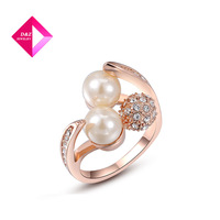 D&Z 18K rose gold-plated rings, 100% handmade fashion jewelry Quality Austria Crystal ring with pearl  ,ring series