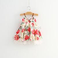 New 2014 Children Clothing Girls Dresses Summer Lace Flower Sleeveless Baby Girls Dress Casual Summer Wear Slips and Chemises