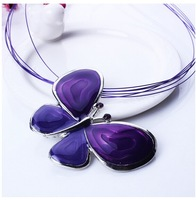 Fashion lovely necklace set for women Europe and America vintage oil drop alloy butterfly pendant necklace for women