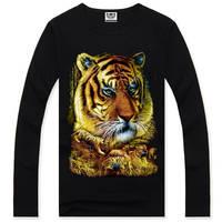 4M302 Burton 3d print tiger hip hop shirts tops new style mens t shirt long sleeve cotton hip-hop tee shirts for Autumn Spring