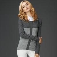 2014 Autumn Color Block Long Sleeve Women Tops Knitwear Rabbit Wool Sweater Jumper Pullovers HY-40824