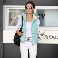 2014 Hot Selling Women Winter Peur Color Vest Down Coat Hoodies Vest Sleeveless Thinken Warm Vest Cotton Vest 6 Colors YYJ510